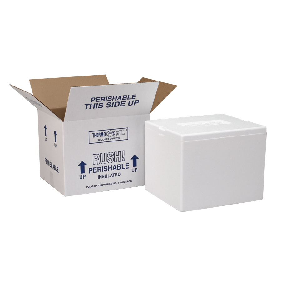 Polar Tech Thermo Chill 207//T16C Small Insulated Foam Container 8 Length x 6 Width x 7 Depth