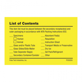 List of Contents Card