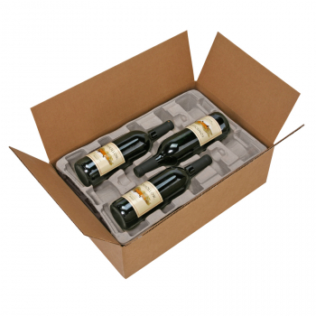 Pulp Fiber Wine Shippers WB13, 3 Bottle Stackable Tray